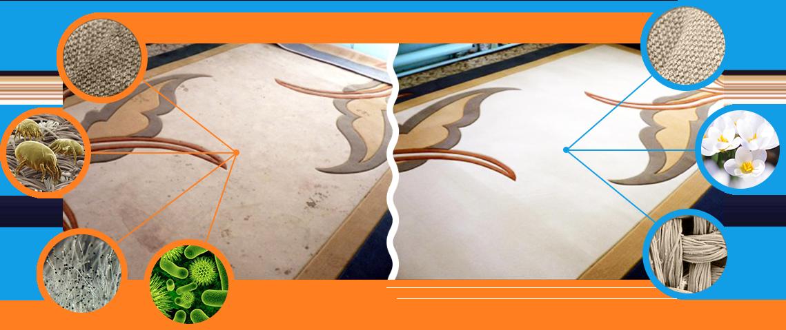 До и после чистки ковра